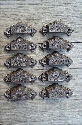 A set of 10 Gothic cast iron drawer pull furniture handles chest draw AL7
