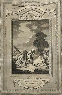 c1790 9x15 BIBLE LEAF Copper Plate Engraving Acts 28.5 Paul Shakes Off Viper