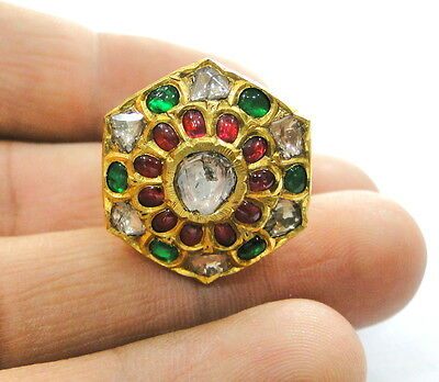 Vintage antique 20K  Gold Diamond polki ruby precious Gemstones ring india