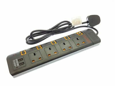 4 Way 2M Extension Lead with 2 Way USB port Portable Socket Surge Protected
