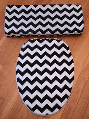Black White Chevrons  Bathroom Decor .. Toilet Seat & Tank Lid Cover Set