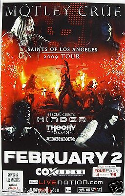"Motley Crue / Hinder ""saints Of Los Angeles 2009 Tour"" San Diego Concert Poster"