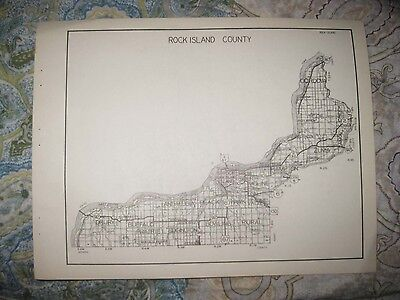 Antique 1931 Rock Island St Clair County Illinois Highway Road Map Belleville Nr