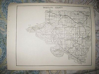 Antique 1931 Randolph Richland County Illinois Highway Road Map Olney Evansville