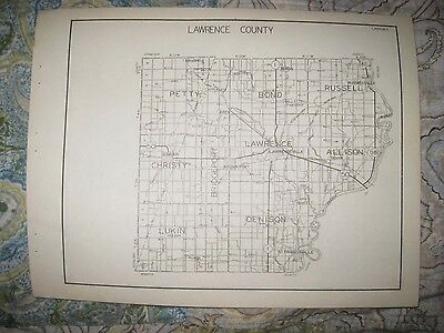 Antique 1931 Lawrence Lee County Illinois Highway Road Map Dixon Lawrenceville
