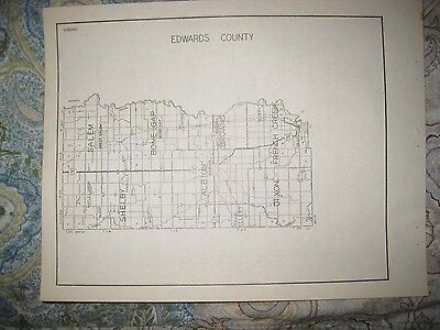 Antique 1931 Edgar Edwards County Illinois Highway Road Map Albion Paris Rare Nr