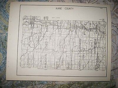Antique 1931 Kane Kankakee County Illinois Highway Road Map Aurora Elgin Geneva