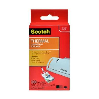 Scotch Thermal Laminating Pouches, 2.4 x 4.2-Inches, ID Badge without Clip, New