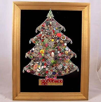 Vintage Jeweled Lighted Christmas Tree Picture Framed Not Working Project