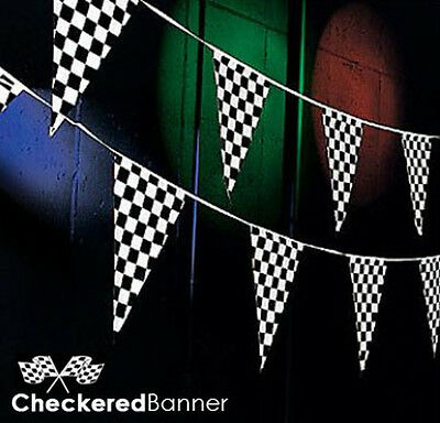 Checkered Flag Pennant (100 Ft.) Banner Race Car Racing Decorations Decorative