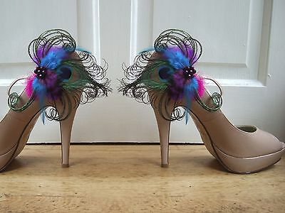 "Bridal Peacock Feathers Purple Blue Fuschia Shoe Clips ""Ella"" (Pair) Wedding"