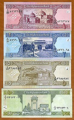 SET Afghanistan, 1;2;5;10 Afghanis, 2002-2008, Picks 64-65-66-67A, UNC