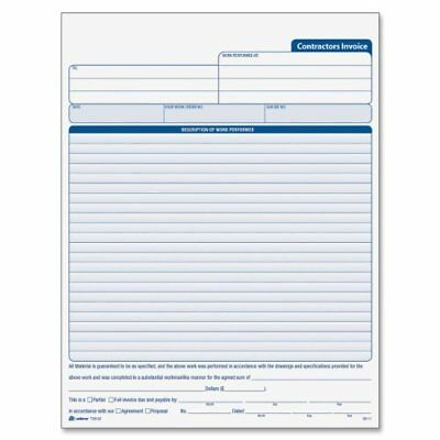 Adams Contractor's Invoice Book 8.38 x 11.44 Inch, 3-Part, Carbonless, 50 Sets,