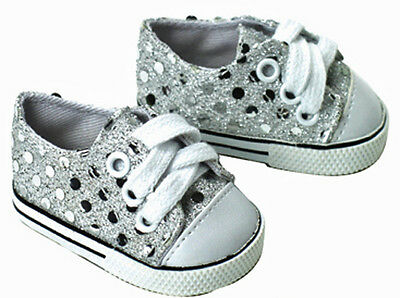 "Silver Sequin Sneakers Gym Shoes made for 18"" American Girl Doll Clothes"
