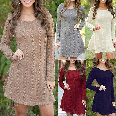Womens Spring Winter Long Sleeve Jumper Tops Knitted Sweater Mini Dress