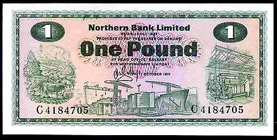 Northern Bank Limited. One Pound, C4184705, 1-10-1971. Uncirculated.