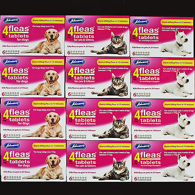 Johnsons 4Fleas 6 Tablets Pack Start To Kill Pet Cat/kitten/dog Fleas In 15 Mins