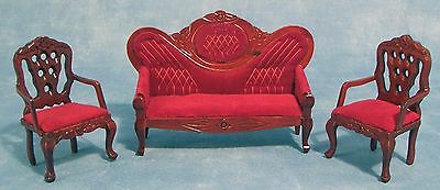 """Dolls House 1/12 Scale """"mirror Back"""" Sofa And Chair Set In Mahogany"""