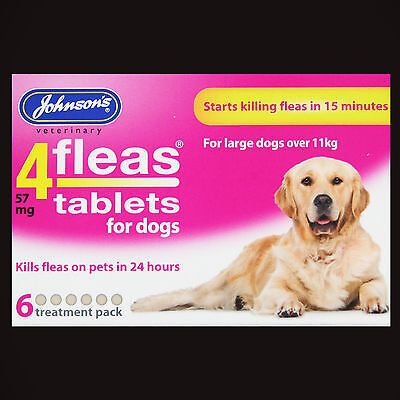 Johnsons Large Dog 4Fleas 6 Tablets Pack Starts To Kill Pet Fleas In 15 Minutes