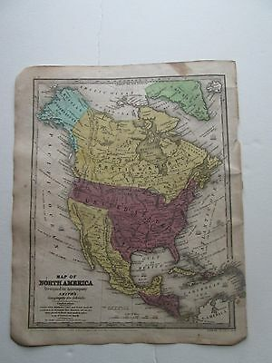 """1839 Smith's Atlas """"map Of North America""""  Mexico Extended Northward"""