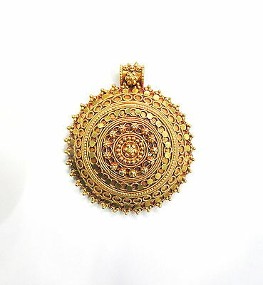 Vintage antique solid 20K Gold jewelry handmade Pendant amulet Rajasthan India