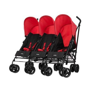 Obaby Mercury Triple Pushchair (Black/Red) includes Rain Cover