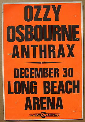 OZZY OSBOURNE Long Beach 1988 Cardboard CONCERT POSTER Black Sabbath ANTHRAX