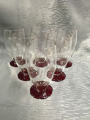 Set of 6 Tumblers With Ruby Lily Pad Feet