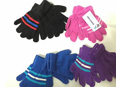 G06 4prs KIDS BOYS GIRLS BACK TO SCHOOL WINTER WARM MAGIC GLOVES COLD PROTECTION
