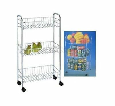 3 Tier Chrome Kitchen Home Office Storage Cart Smart Trolley Rack Easy Assembly