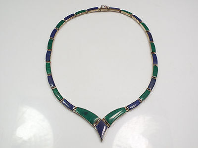 Vintage Mexico Sterling Silver Malachite & Blue Lapis V Shaped Necklace, 17""