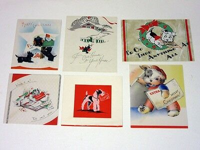 Lot 6 Vtg 30's Christmas Card Dogs w Mailbox Letters Album Newspaper scottie