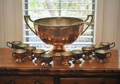 Vintage South American Copper and Brass Punch Bowl Set
