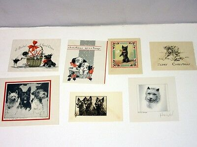 Lot of 7 Vtg 20's 30's Christmas Card Dogs Scotties basket bushel, tipped in