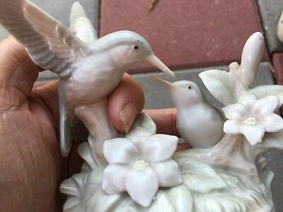 Porcelain Hummingbird Figurine by Gaylord Vintage Flowers Bee