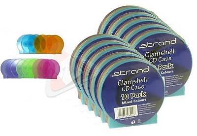 Brand New High Quality Multi Coloured Clam Shell Cd Dvd Single Cases Pack Of 10