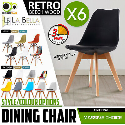 6 x Retro Replica Eames Eiffel PU Padded DSW Beech Dining Chairs Cafe Kitchen