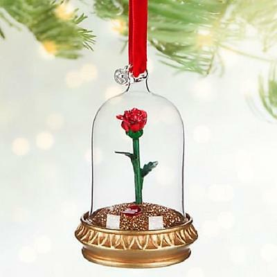 Disney 2016 Beauty And The Beast Enchanted Rose Light Up Ornament New In Box