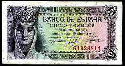 Spain. Five Pesetas, G1928814, 13-2-1943, Good Fine.