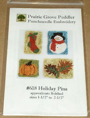 Prairie Grove Peddler Holiday Pins Punchneedle Embroidery Patterns