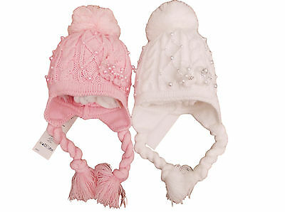 BNWT Baby girls pink or white winter Pearl drop bobble pom pom hat 12m to 3 Year