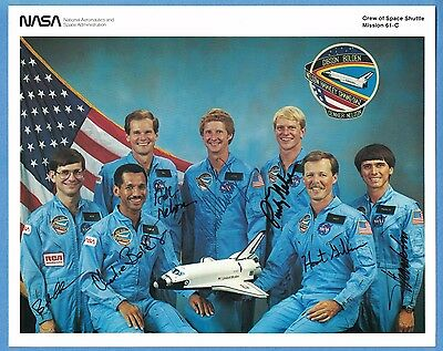 1986 NASA Shuttle Columbia STS-61C Crew Photo SIGNED by All 7 Astronauts