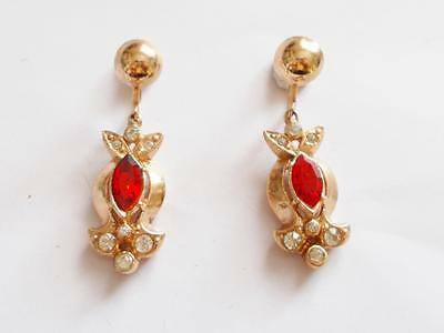 Vintage 1940's Gold Tone Ruby Red Coloured & Clear Glass Crystal Dangle Earrings