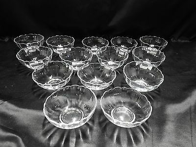 Arcoroc France Fruit Berry Sauce Bowls Clear With Scalloped Edge Set of 14