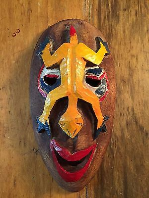 Vintage Carved Painted Signed Wood Folk Art Mask French West Indies Carribbean