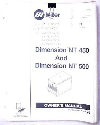 Miller Dimension NT 450 & NT 500 Owners Manual OM-2252 Welding FREE SHIPPING