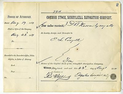 Stock Transfer – Schuylkill Navigation Co. 1881