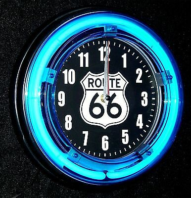 "Route 66 Logo 11"" Blue Neon Clock - New !!"