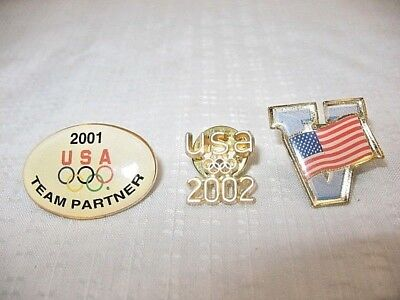 """LOT OF 3 ~ 2001 &  2002 Olympics Pin + """"V' VICTORY WITH USA FLAG ~  111D16"""