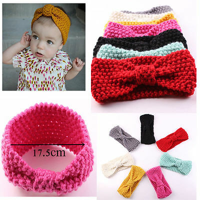Kids Baby Toddler Girl Crochet Knitted Warm Ear Hair Band Wrap Bow Headband New